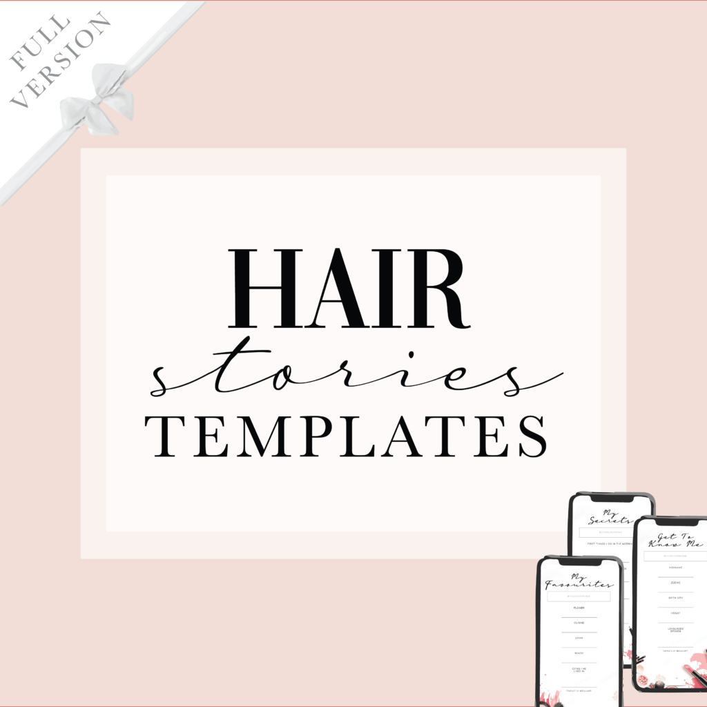 Instagram Facebook stories template for beauty industry hairdresser haircut social media content ideas