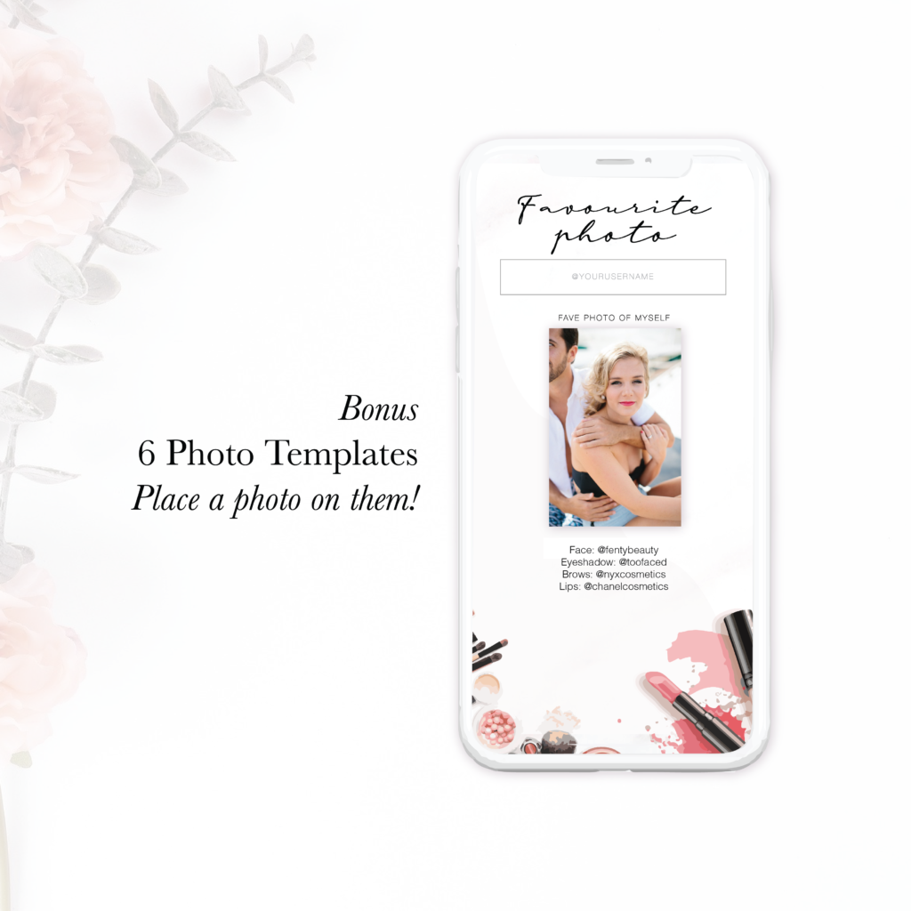 Instagram Facebook stories template for beauty industry makeup artists social media content ideas