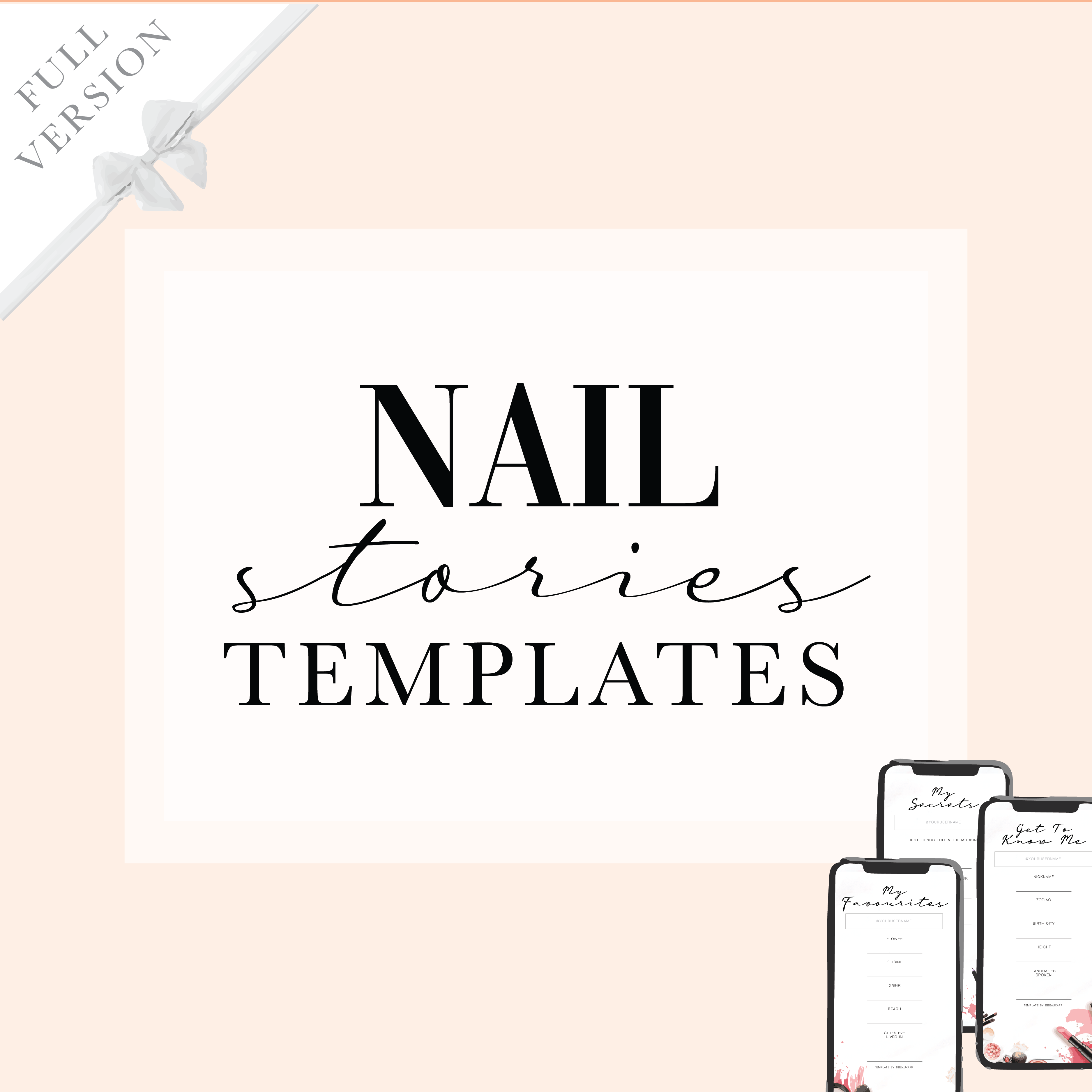Instagram Facebook stories template for beauty industry nail technician salon manicure pedi mani social media content ideas