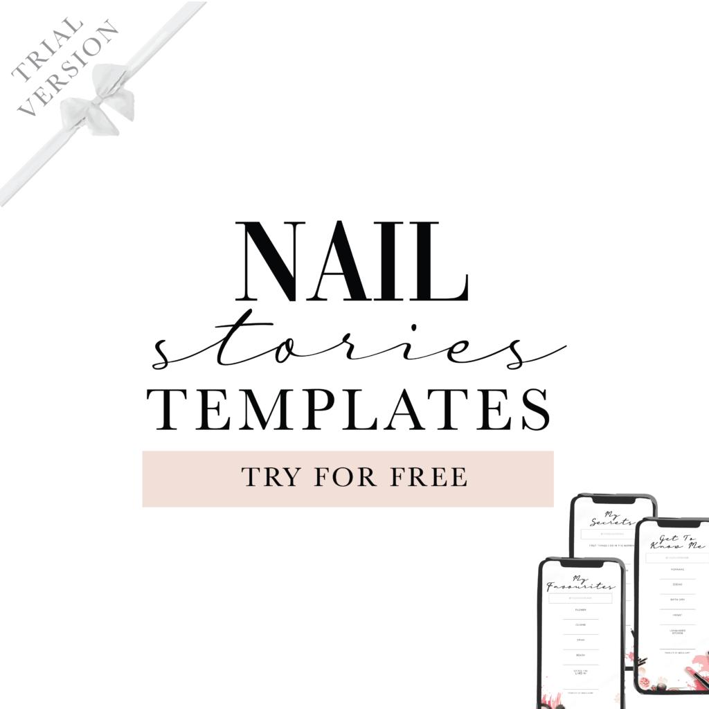 Instagram Facebook stories template for beauty industry nail technician salon manicure pedi mani social media content ideas